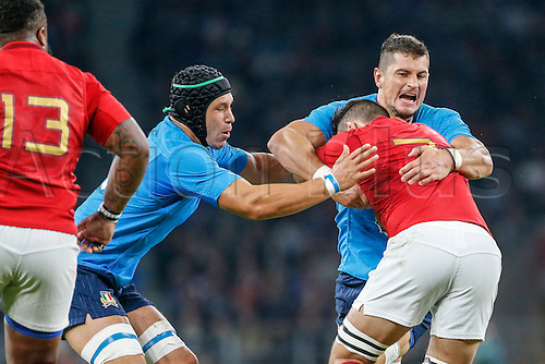 19.09.2015. Twickenham, London, England. Rugby World Cup. France versus Italy. Damien Chouly of France is tackled by Alessandro Zanni and Francesco Minto of Italy.