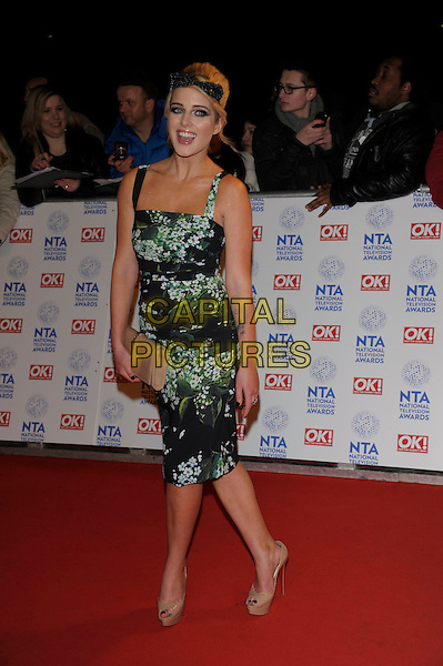 Helen Flanagan.National Television Awards at the 02 Arena, London, England..January 23rd, 2013.NTA NTAs full length dress green black white beige floral print dress clutch bag hairband .CAP/PL.©Phil Loftus/Capital Pictures.