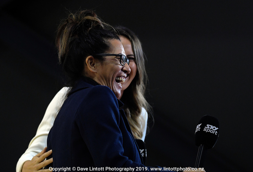 Silver Ferns coach Noeline Taurua is interviewed by Skysport's Courtney Tairi after the ANZ Premiership netball match between Central Pulse and WBOP Magic at TSB Bank Arena in Wellington, New Zealand on Sunday, 21 April 2019. Photo: Dave Lintott / lintottphoto.co.nz
