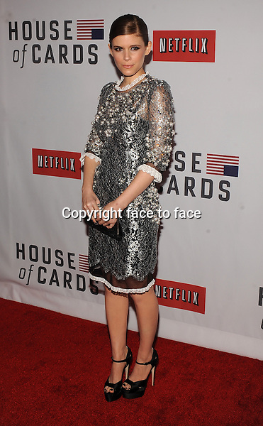 """Kate Mara (wore Dolce&Gabbana) attending Netflix's """"House Of Cards"""" Premiere at Alice Tully Hall in New York, 30.01.2013...Credit: MediaPunch/face to face..- Germany, Austria, Switzerland, Eastern Europe, Australia, UK, USA, Taiwan, Singapore, China, Malaysia and Thailand rights only -"""
