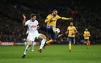 Gonzalo Higuain of Juventus and Tottenham Hotspur's Jan Vertonghen<br /> <br /> Photographer Rob Newell/CameraSport<br /> <br /> UEFA Champions League Round of 16 Second Leg - Tottenham Hotspur v Juventus - Wednesday 7th March 2018 - Wembley Stadium - London <br />  <br /> World Copyright &copy; 2017 CameraSport. All rights reserved. 43 Linden Ave. Countesthorpe. Leicester. England. LE8 5PG - Tel: +44 (0) 116 277 4147 - admin@camerasport.com - www.camerasport.com