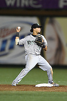 Dayton Dragons second baseman Ronald Bueno (11) attempts to turn a double play during a game against the South Bend Silver Hawks on August 20, 2014 at Four Winds Field in South Bend, Indiana.  Dayton defeated South Bend 5-3.  (Mike Janes/Four Seam Images)