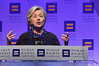 Washington, DC - October 28, 2017: Hillary Clinton speaks at the Human Rights Campaign's National Dinner held at the Washington Convention Center October 28, 2017.  (Photo by Don Baxter/Media Images International)