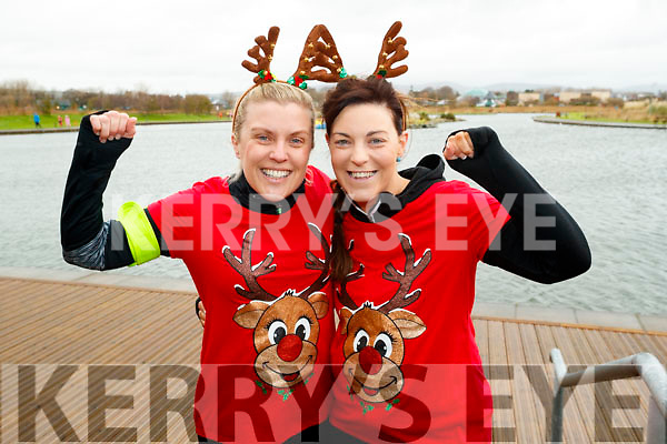 Christina O'Callaghan (Banna) and Helen Lynch (Limerick), who took part in the Santa Run at Tralee Bay Wetlands on Sunday morning last.