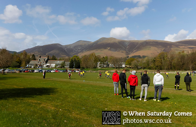 Keswick 1 Kendal 1, 15/04/2017. Fitz Park, Westmoreland League. Spectators watching the game. Photo by Paul Thompson.