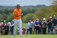 Rickie Fowler (USA) after sinking his putt on 8 during day 4 of the Valero Texas Open, at the TPC San Antonio Oaks Course, San Antonio, Texas, USA. 4/7/2019.<br /> Picture: Golffile | Ken Murray<br /> <br /> <br /> All photo usage must carry mandatory copyright credit (© Golffile | Ken Murray)