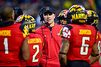 College Park, MD - NOV 11, 2017: Maryland Terrapins head coach DJ Durkin address his team during a timeout of the game between Maryland and Michigan at Capital One Field at Maryland Stadium in College Park, MD. (Photo by Phil Peters/Media Images International)
