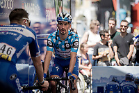 Polka Dot Jersey / KOM leader Julian Alaphilippe (FRA/Deceuninck - Quick-Step) warming up ahead of the stage<br /> <br /> Stage 8: Cluses (FRA) to Champéry (SUI)(113km)<br /> 71st Critérium du Dauphiné 2019 (2.UWT)<br /> <br /> ©kramon