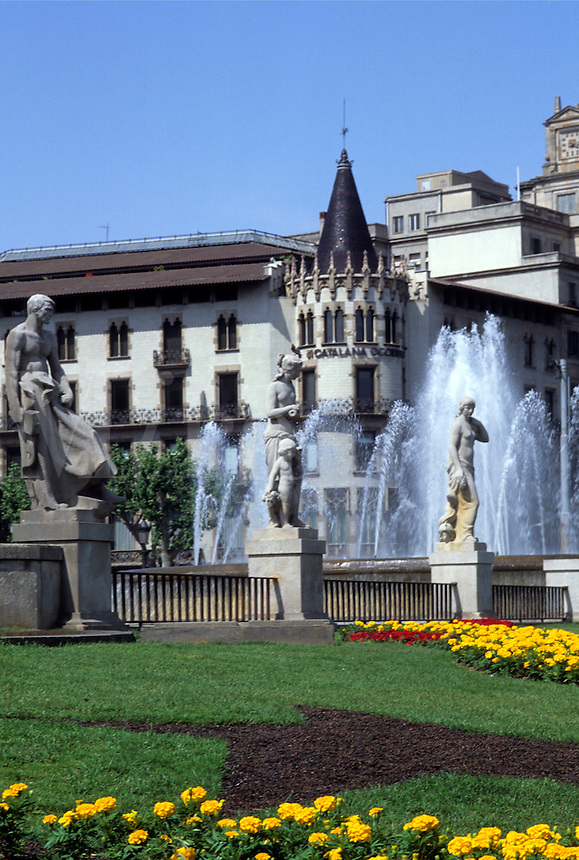 Life in Spain the beautiful Plaza Cataluna with fountains in Barcelona Spain