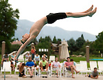 Pepperwood's Davis Handley competes during the 53rd annual Country Club League diving championships Wednesday, Aug. 8, 2012, in Sandy, Utah. (© 2012 Douglas C. Pizac)