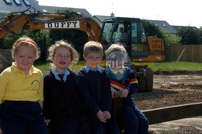 Schrona Kermath, Ellie Loughran, Alex Tuite and Brian Bulger having a look at the start of the new School extention in Callystown National School..Picture Fran Caffrey Newsfile