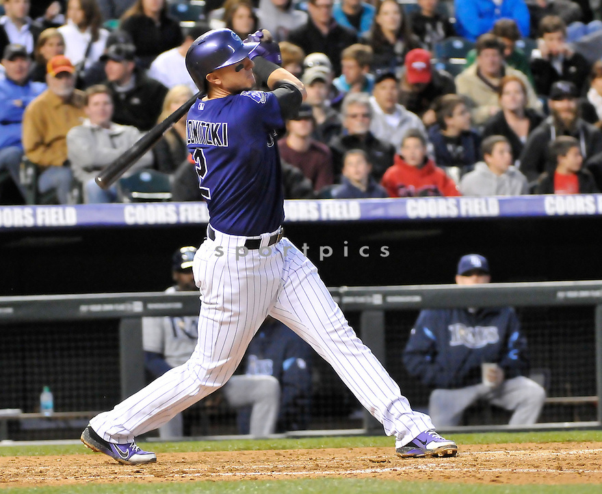 Colorado Rockies Troy Tulowitzki (2) during a game against the Tampa Bay Rays on May 4, 2013 at Coors Field in Denver, CO. The Rockies beat the Rays 9-3.
