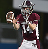 Colin Hart #14 of Garden City takes a snap during the Nassau County football Conference II semifinals against Calhoun at Shuart Stadium, located on the campus of Hofstra University in Hempstead, on Thursday, Nov. 8, 2018.