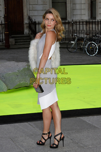Annabelle Wallis<br /> Royal Academy Summer Exhibition 2013 - VIP preview party, Royal Academy of Arts, London, England. <br /> 5th June, 2013<br /> full length grey gray white dress  side fur<br /> CAP/AH<br /> &copy;Adam Houghton/Capital Pictures