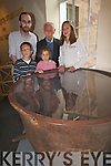 MUSEUM: Pictured at the newest exhibit, a famine pot from Ballymacelligott, which was found on the lands of Jack Godley, at Kerry county museum on Thursday, from left Griffin Murray, Oisin McKeowan,  Jack Godley, Sinead, Fiona