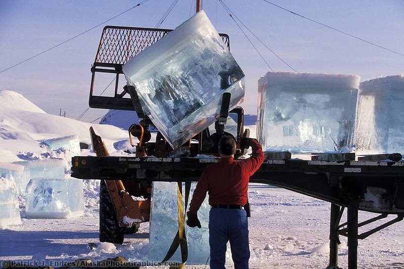 Harvest of ice blocks cut from local pond in Fairbanks, Alaska. Used by sculptors in the World Ice Sculpting Championships in Fairbanks