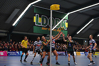 KORFBAL: GORREDIJK: Sport- en Ontspanningscentrum Kortezwaag, 27-11-2013, LDODK - AKC BLAUW WIT, Eindstand 25-28, ©foto Martin de Jong