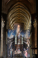 BNPS.co.uk (01202 558833)<br /> Pic: ZacharyCulpin/BNPS<br /> <br /> PICTURED: One of the UK's most historic cathedrals today unveiled a 40ft Renaissance-style photographic tableau as its nativity - with its very own clergy, volunteers and staff starring as figures from the Christian scene.<br /> <br /> Salisbury Cathedral's spectacular nativity features its stonemason as Joseph, a bookings agent as Mary, a retired postman as a shepherd, a Canon and guides as Wise Men - and the son of an ex-England rugby player as baby Jesus.<br /> <br /> The Wiltshire cathedral wanted to put a modern twist on the traditional Christmas scene and cast people as Nativity characters before holding a series of individual and group photoshoots.