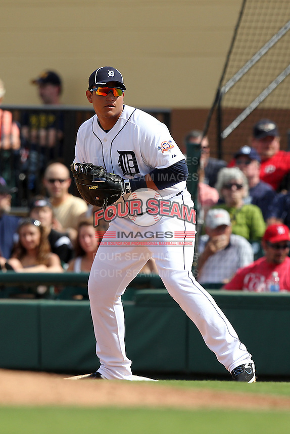 Detroit Tigers first baseman Miguel Cabrera #21 during a Spring Training game vs the Philadelphia Phillies at Joker Marchant Stadium in Lakeland, Florida;  March 6, 2011.  Detroit defeated Philadelphia 2-1.  Photo By Mike Janes/Four Seam Images