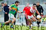 Ian Galvin South Kerry in action against Breandan Kelliher Dingle in the Quarter Final of the Kerry Senior County Championship at Austin Stack Park on Sunday.