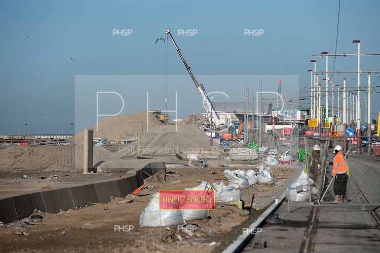 16/02/2011 Blackpool Lancashire UK.Construction work on Tower headland/tramway infrastructure upgrade...© Phill Heywood.