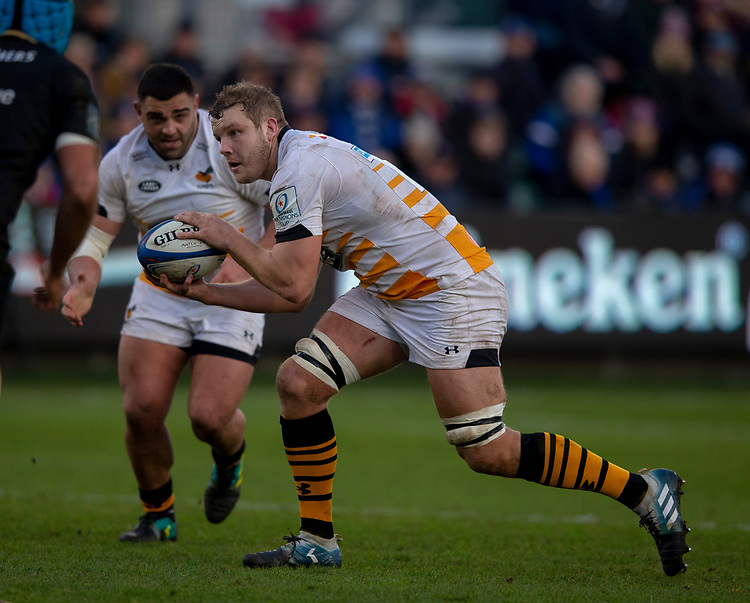 Wasps' Joe Launchbury<br /> <br /> Photographer Bob Bradford/CameraSport<br /> <br /> European Rugby Heineken Champions Cup Pool 1 - Bath Rugby v Wasps - Saturday 12th January 2019 - The Recreation Ground - Bath<br /> <br /> World Copyright © 2019 CameraSport. All rights reserved. 43 Linden Ave. Countesthorpe. Leicester. England. LE8 5PG - Tel: +44 (0) 116 277 4147 - admin@camerasport.com - www.camerasport.com