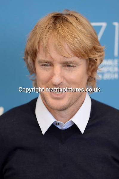 NON EXCLUSIVE PICTURE: PAUL TREADWAY / MATRIXPICTURES.CO.UK<br /> PLEASE CREDIT ALL USES<br /> <br /> WORLD RIGHTS<br /> <br /> American actor Owen Wilson attends the She's Funny That Way photocall during the 71st Venice Film Festival,  Palazzo del Casino, Venice, Italy.<br /> <br /> AUGUST 31st 2014<br /> <br /> REF: PTY 143820