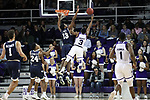 HIGH POINT, NC - JANUARY 06: Charleston Southern's Jordan Jones (13) blocks a shot by High Point's Jamal Wright (3). The High Point University of Panthers hosted the Charleston Southern University Buccaneers on January 6, 2018 at Millis Athletic Convocation Center in High Point, NC in a Division I men's college basketball game. HPU won the game 80-59.