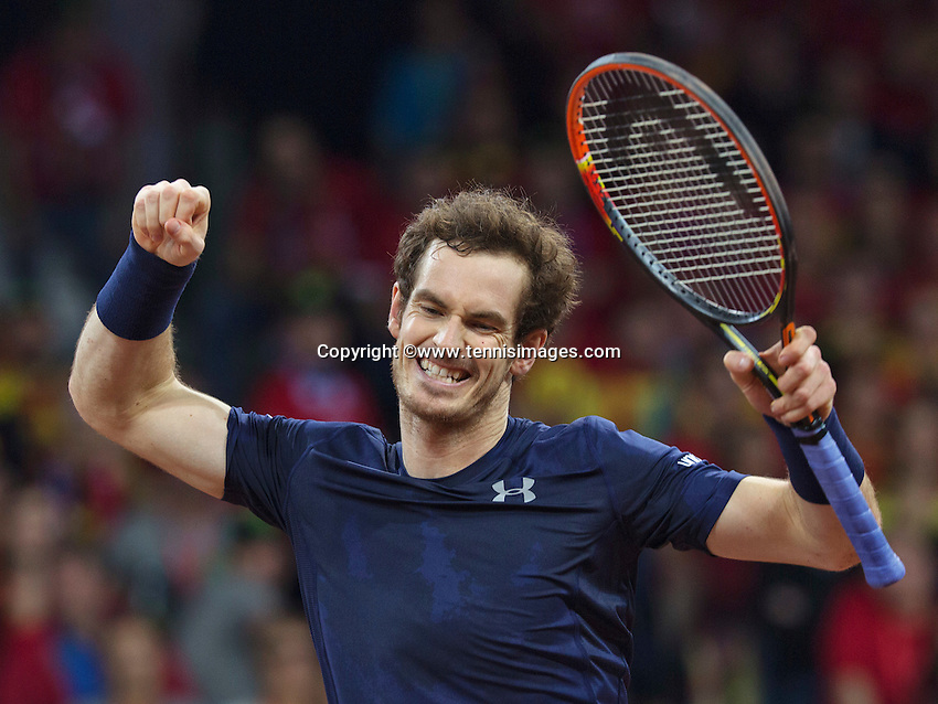 Gent, Belgium, November 28, 2015, Davis Cup Final, Belgium-Great Britain, day two, doubles match, Andy Murray celebrates their win over the Belgian doubles<br /> Photo: Tennisimages/Henk Koster