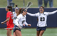 Penn State's Maggie Gallagher (10) is congratulated on her goal by Steph Lazo (23) against Ohio State on April 1, 2017. No. 6 Nittany Lions won 16-12 over the Buckeyes.  Photo/©2017 Craig Houtz