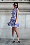 Street Style during Paris Fashion Week Spring Summer 2018 on Saturday 30th September 2017. Image shows Cola wearing a dress by Elie Saab and heels by Jimmy Choo. (Photo by JSTREETSTYLE/AFLO)