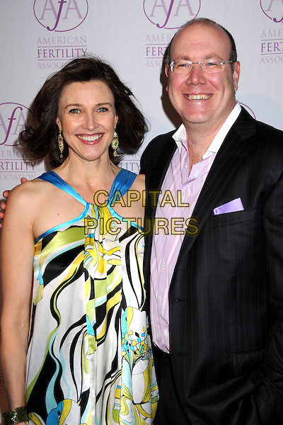 BRENDA STRONG & DR. PHILLIP WERTHMAN.American Fertility Associations Annual Illuminations Gala at a Private Residence, Los Angeles, California, USA..March 15th, 2008.half length white black blue yellow pattern silk satin top dress jacket purple shirt glasses.CAP/ADM/BP.©Byron Purvis/AdMedia/Capital Pictures.