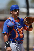 New York Mets catcher Natanael Ramos (33) during practice before a minor league spring training game against the St. Louis Cardinals on April 1, 2015 at the Roger Dean Complex in Jupiter, Florida.  (Mike Janes/Four Seam Images)