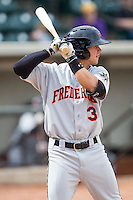 Adrian Marin (3) of the Frederick Keys at bat against the Winston-Salem Dash at BB&T Ballpark on May 18, 2014 in Winston-Salem, North Carolina.  The Dash defeated the Keys 7-6.  (Brian Westerholt/Four Seam Images)