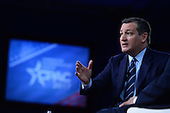 National Harbor, MD - February 23, 2017: U.S. Senator Ted Cruz speaks to attendees of the Conservative Political Action Conference at the Gaylord Hotel in National Harbor, MD, February 23, 2017.  (Photo by Don Baxter/Media Images International)