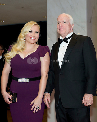 United States Senator John McCain (Republican of Arizona), right, and Meghan McCain, left, arrive for the 2014 White House Correspondents Association Annual Dinner at the Washington Hilton Hotel on Saturday, May 3, 2014.<br /> Credit: Ron Sachs / CNP<br /> (RESTRICTION: NO New York or New Jersey Newspapers or newspapers within a 75 mile radius of New York City) /MediaPunch