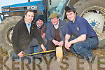 MEASURING: Measuring the width of the burrows at the Ardfert Ploughing com[petition on Sunday on Jim Healys Land, L-R: Tom McCarthy (Abbeydorney), Michael O'Sullivan(Churchill), Brendan Blackwell (Ardfert) and Nial O'Hanlon (Causeway).................. . ............................... ..........