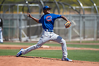 Chicago Cubs starting pitcher Danis Correa (61) delivers a pitch to the plate during an Extended Spring Training game against the Colorado Rockies at Sloan Park on April 17, 2018 in Mesa, Arizona. (Zachary Lucy/Four Seam Images)