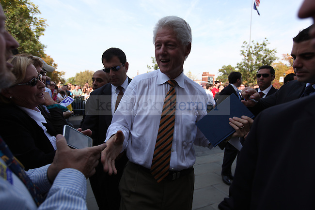 Former president Bill Clinton speaks at the front lawn of UK campus on Monday, Oct. 11, 2010 to endorse Jack Conway. Photo by Britney McIntosh | Staff