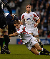 Twickenham, GREAT BRITAIN, Jonny WILKINSOn, making a tackle, during the  England vs Scotland, Calcutta Cup Rugby match played at the  RFU Twickenham Stadium on Sat 03.02.2007  [Photo, Peter Spurrier/Intersport-images]....