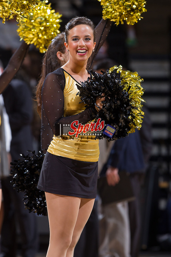 Wake Forest Demon Deacons dance team member Krissy Cantin entertains the crowd during a timeout in the game against the Brevard Tornados at the LJVM Coliseum on November 1, 2013 in Winston-Salem, North Carolina.  The Demon Deacons defeated the Tornados 93-66. (Brian Westerholt/Sports On Film)