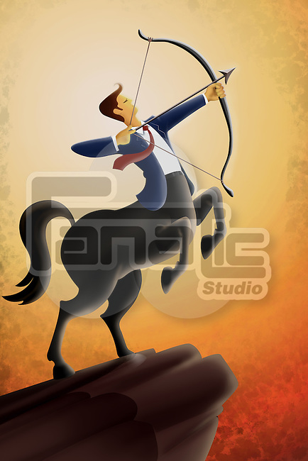 Illustrative image of businessman aiming bow and arrow against sky