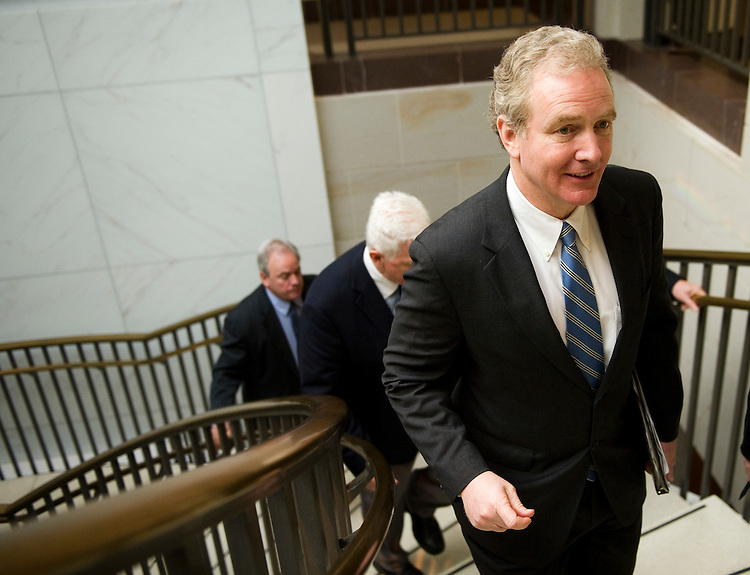 WASHINGTON, DC- Jan. 12: House Democratic Steering Committee Chairman Chris Van Hollen, D-Md., talks to a reporter outside Democratic meetings for the steering committee to decide committee posts, and a security briefing for members in the wake of the shooting in Tuscon, Ariz., on Jan. 8 that killed six and injured 14, including Giffords, D-Ariz., who is recovering after being shot in the head. (Photo by Scott J. Ferrell/Congressional Quarterly)