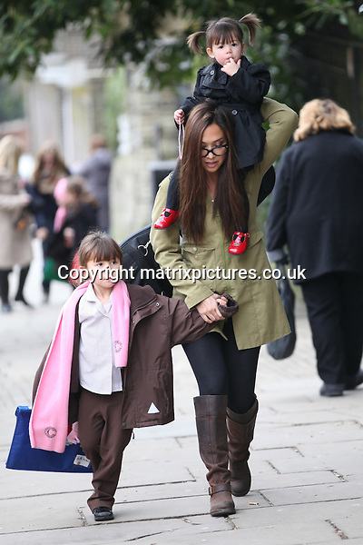 NON EXCLUSIVE PICTURE: MATRIXPICTURES.CO.UK.PLEASE CREDIT ALL USES..WORLD RIGHTS..British media personality Myleene Klass is spotted with her daughters Ava and Hero Harper in North London today...MARCH 1st 2013..REF: WTX 131402