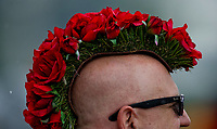 LOUISVILLE, KY - MAY 05: A man wears a rose strewn mohawk hat on Kentucky Derby Day at Churchill Downs on May 5, 2018 in Louisville, Kentucky. (Photo by Alex Evers/Eclipse Sportswire/Getty Images)