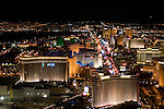 Aerial night view of Las Vegas Strip, Nevada, NV, Las Vegas Strip, city at night, nightscape, aerial, Photo nv247-17001..Copyright: Lee Foster, www.fostertravel.com, 510-549-2202,lee@fostertravel.com