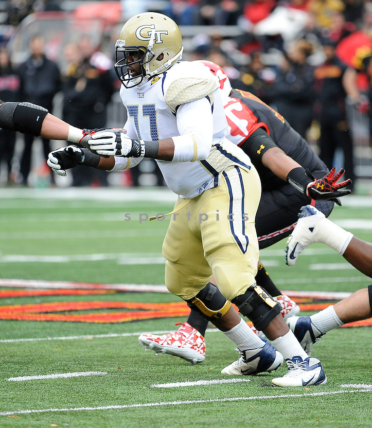 Georgia Tech Yellow Jackets Omoregie Uzzi (77) in action during a game against Maryland on November 3, 2012 at Byrd Stadium in College Park, MD. Georgia Tech beat Maryland 33-13.