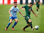 David Simon (RC Deportivo de la Coruna) and Ismael (Malaga CF) competes for the ball during La Liga Smartbank match round 39 between Malaga CF and RC Deportivo de la Coruna at La Rosaleda Stadium in Malaga, Spain, as the season resumed following a three-month absence due to the novel coronavirus COVID-19 pandemic. Jul 03, 2020. (ALTERPHOTOS/Manu R.B.)