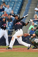 Tampa Yankees third baseman Miguel Andujar (46) at bat during a game against the Daytona Tortugas on April 24, 2015 at George M. Steinbrenner Field in Tampa, Florida.  Tampa defeated Daytona 12-7.  (Mike Janes/Four Seam Images)