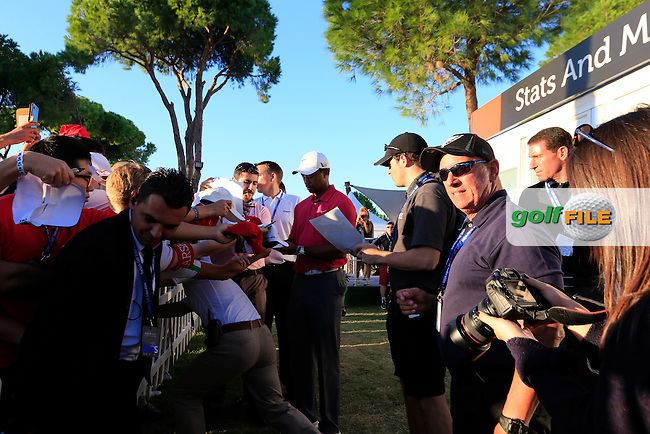 Tiger WOODS (USA) during round 3 of the Turkish Airlines Open presented by the Ministry of Tourism and Culture, hosted at the The Montgomerie Maxx Royal,Antalya,Turkey.<br /> Picture: Fran Caffrey www.golffile.ie